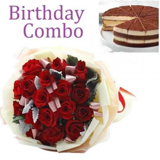 Birthday Package - Rose Bouquet + Tiramisu Cake