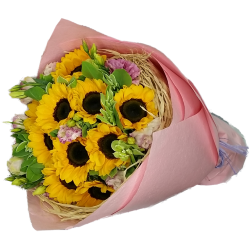 Ten SunFlowers in Bouquet  Sunny Day
