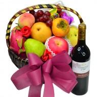 Seasonal Fruits Hamper with Red Wine