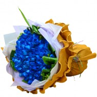 Romantic Forever  99 Blue Color of Roses Bouquet  Valentines Day