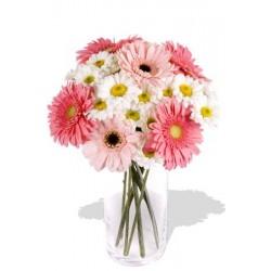 11pcs Mixed Gerbera and Chrysathemum Vase Bouquet