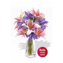 Oriental and Iris Bouquet , 3 Lily and 5 Iris Vase Bouquet