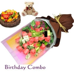 Birthday Combo with Flowers, Birthday Cake and Teddy